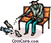 Vector Clip Art graphic  of a man feeding the pigeons