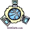 global networking Vector Clipart picture