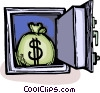 safe with a bag of money in it Vector Clip Art image