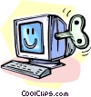 wind up computer monitor Vector Clipart illustration