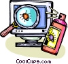 Vector Clip Art image  of a computer virus