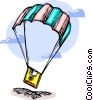 Vector Clipart image  of a floppy disk parachuting