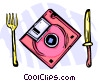 software floppy disk place setting Vector Clipart picture