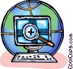 Vector Clip Art graphic  of a research into global