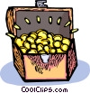 Vector Clip Art graphic  of a treasure chest full of gold