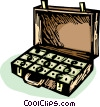 briefcase full of money Vector Clipart graphic