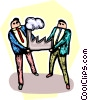 two businessmen with a factory Vector Clipart graphic