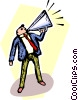 Vector Clip Art picture  of a man with megaphone making