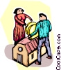 Vector Clip Art graphic  of a couple investing money in a