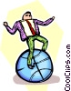 Vector Clipart graphic  of a businessman balancing on a
