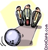 bowling ball strikes down businessmen Vector Clip Art picture