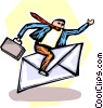Vector Clip Art image  of a businessman riding an envelope
