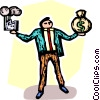 man balancing a factory and a bag of money Vector Clipart graphic