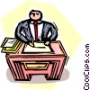 Vector Clip Art image  of a man sitting at his desk doing