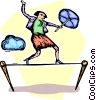 businesswoman walking a tightrope Vector Clip Art image
