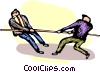 Vector Clip Art picture  of a businessmen doing a tug-o-war