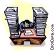 businessman doing paperwork Vector Clip Art graphic