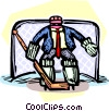 Vector Clip Art graphic  of a man in nets with goalie
