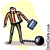 businessman with a ball and a chain Vector Clip Art picture