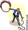 Vector Clip Art image  of a man with a whip and a flaming