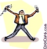 Vector Clipart picture  of a man running with telephones in