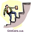 Vector Clip Art image  of a person going up the stairs