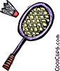 Vector Clipart image  of a Badminton racket and birdie
