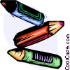 Vector Clip Art picture  of a Three crayons