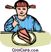 child eating dessert Vector Clip Art graphic