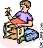 Vector Clip Art image  of a child playing with a dollhouse