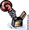 Vector Clip Art image  of a boxing glove jack-in-the-box