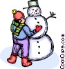 child making a snowman Vector Clip Art graphic