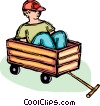 Vector Clipart graphic  of a boy sitting in a wagon