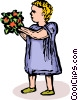 Vector Clip Art graphic  of a little girl with flowers