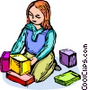girl playing with blocks Vector Clipart image