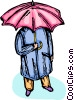 Vector Clip Art image  of a person standing under an