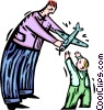 father handing a toy plane to a child Vector Clipart graphic