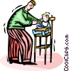 Father feeding the baby Vector Clipart graphic