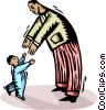Vector Clipart illustration  of a Child greeting his father