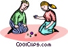 two children playing Vector Clip Art image