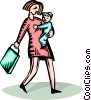 Vector Clip Art picture  of a Woman with a child