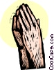 Vector Clip Art graphic  of a praying hands
