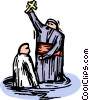 Vector Clipart graphic  of a priest performing a Baptism