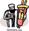 Vector Clip Art graphic  of a Rabbi with the Torah