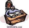 priest reading the Bible Vector Clipart picture
