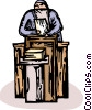 Vector Clip Art graphic  of a priest at the pulpit