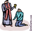 priest giving Communion to a parishioner Vector Clipart illustration