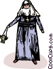 Vector Clipart graphic  of a nun with incense