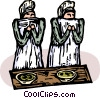 nuns praying Vector Clip Art graphic