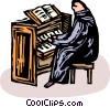 Person playing the church organ Vector Clip Art graphic